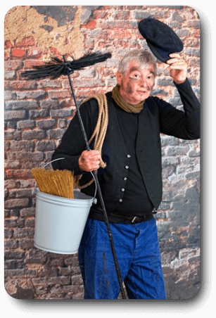 image of a chimney sweep tipping his hat to say hello