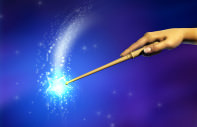 Female hand using a magical wand. Digital illustration.
